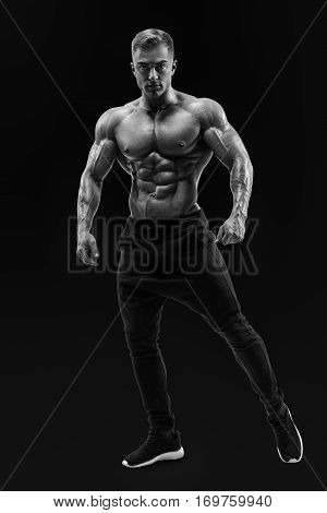 Shirtless Male Model Posing Muscular Core