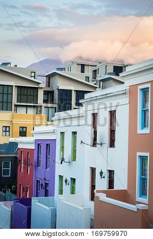 Colorful homes in the historic Bo-Kaap neighborhood in Cape Town near the city center. The area is formerly known as the Malay Quarter.