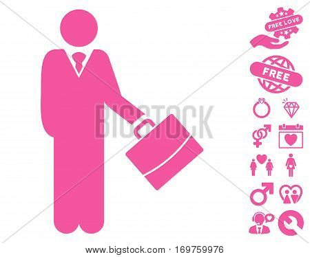 Standing Businessman icon with bonus dating pictograms. Vector illustration style is flat iconic pink symbols on white background.
