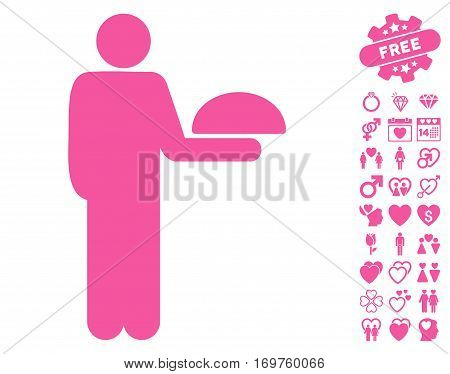 Standing Waiter pictograph with bonus love images. Vector illustration style is flat iconic pink symbols on white background.