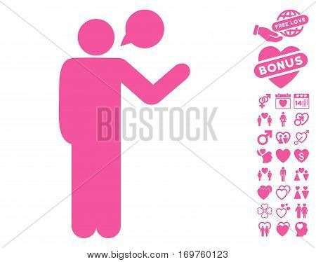 Talking Man pictograph with bonus dating images. Vector illustration style is flat iconic pink symbols on white background.