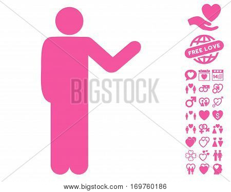 Talking Man icon with bonus valentine pictures. Vector illustration style is flat iconic pink symbols on white background.
