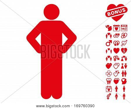 Akimbo Pose icon with bonus dating pictures. Vector illustration style is flat iconic red symbols on white background.