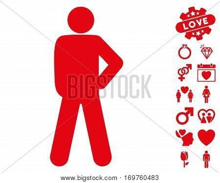 Audacity Pose icon with bonus valentine images. Vector illustration style is flat iconic red symbols on white background.