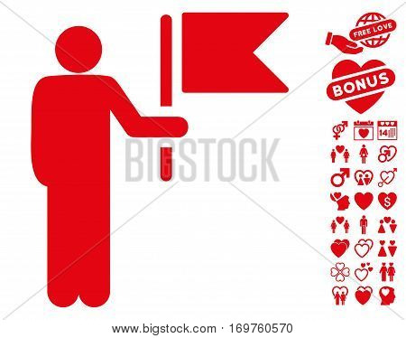 Commander With Flag pictograph with bonus dating graphic icons. Vector illustration style is flat iconic red symbols on white background.