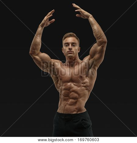 Strong Abs Showing Rising Hand