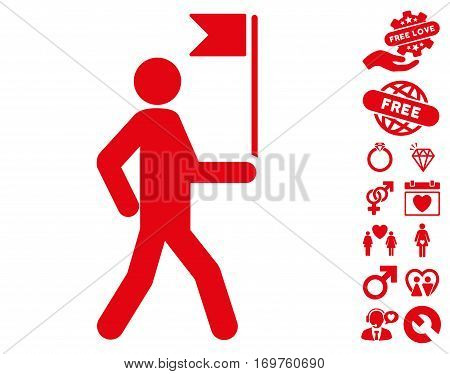 Guide Man With Flag icon with bonus love images. Vector illustration style is flat iconic red symbols on white background.