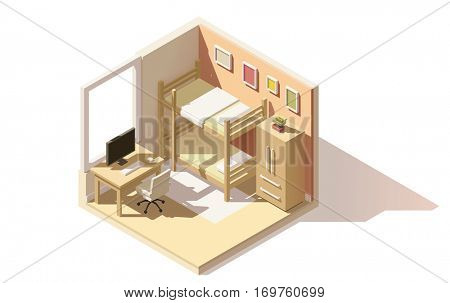Vector isometric low poly children room cutaway icon. Room includes bunk bed, computer table with office chair, other furniture
