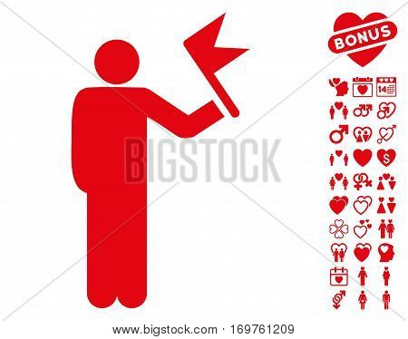 Man With Flag pictograph with bonus dating pictograms. Vector illustration style is flat iconic red symbols on white background.