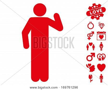 Opinion Pose icon with bonus love design elements. Vector illustration style is flat iconic red symbols on white background.