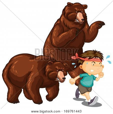 Two bears chasing little boy illustration