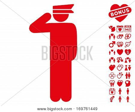 Police Officer pictograph with bonus lovely pictograms. Vector illustration style is flat iconic red symbols on white background.