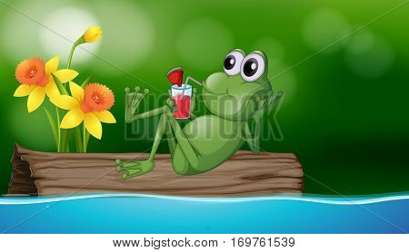 Cute frog drinking juice on the log illustration