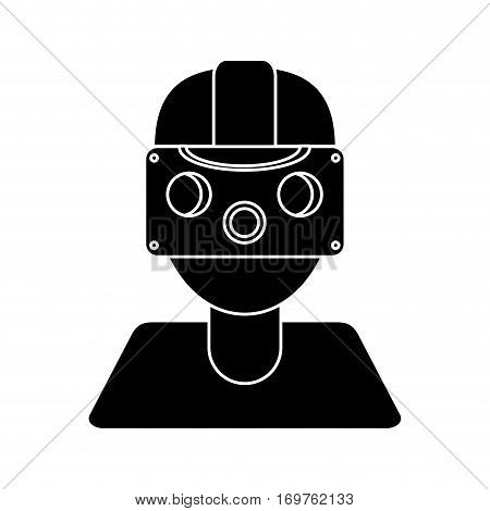 gamer with virtual reality augmented device pictogram vector illustration eps 10