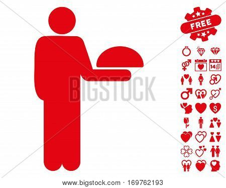 Standing Waiter icon with bonus dating pictograms. Vector illustration style is flat iconic red symbols on white background.