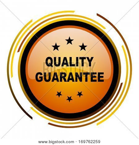 Quality guarantee vector icon. Modern design round orange button isolated on white background for web and applications in eps10.