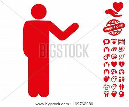 Talking Man icon with bonus dating pictograph collection. Vector illustration style is flat iconic red symbols on white background.