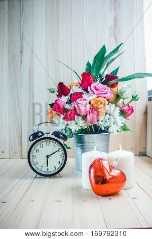 Bouquet Roses, Vintage Clock, Red Heart And Candle