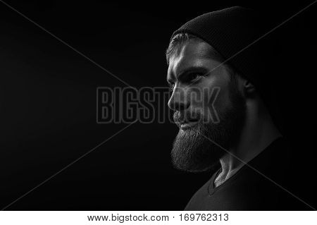 Silhouette Of Young Bearded Man Hipster