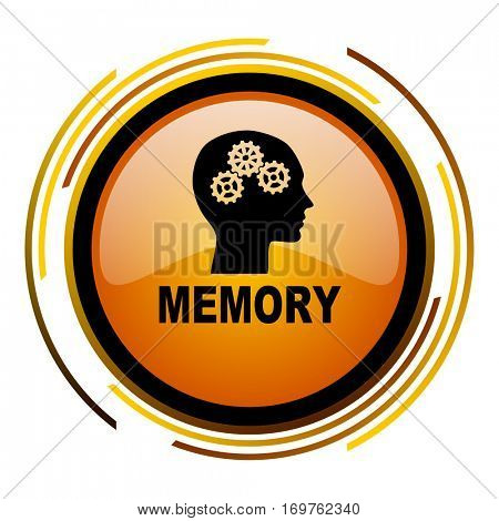 Memory vector icon. Modern design round orange button isolated on white background for web and applications in eps10.