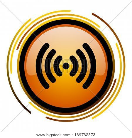 WI FI vector icon. Modern design round orange button isolated on white background for web and applications in eps10.