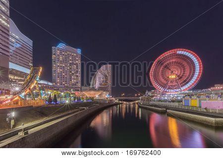 Night scape at Yokohama Minato Mirai seaside. Minato Mirai 21 is a seaside urban area in central Yokohama whose name means