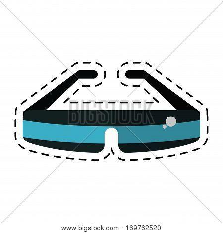 glasses virtual reality wearable technology cut line vector illustration eps 10