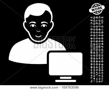 Computer Administrator icon with bonus human pictures. Vector illustration style is flat iconic white symbols on black background.