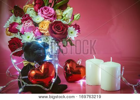 Vase Of Bouquet Roses, Red Heart And White Candle