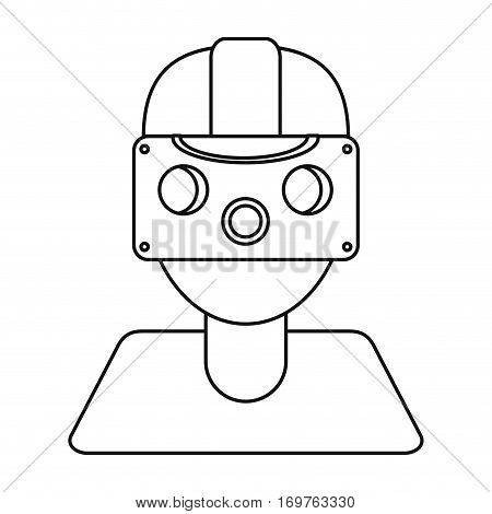 gamer with virtual reality augmented device thin line vector illustration eps 10