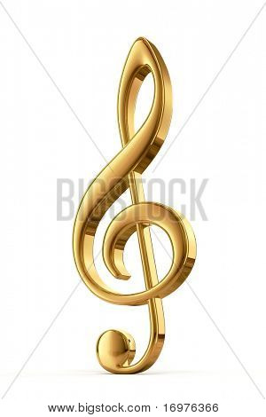 Golden treble clef - 3d render