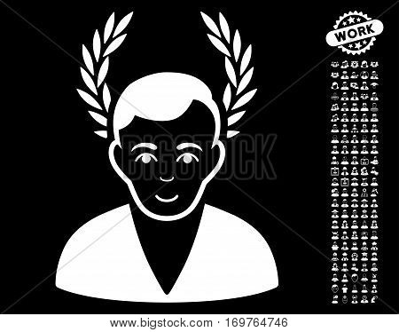 Man Glory pictograph with bonus people pictograph collection. Vector illustration style is flat iconic white symbols on black background.