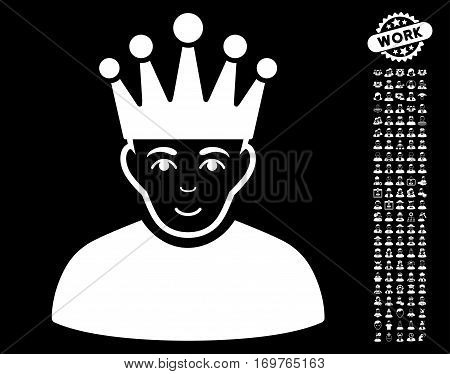 Moderator pictograph with bonus men images. Vector illustration style is flat iconic white symbols on black background.