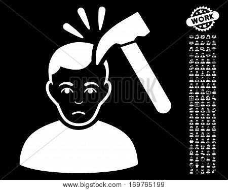Murder With Hammer pictograph with bonus people pictures. Vector illustration style is flat iconic white symbols on black background.