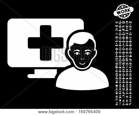 Online Medicine pictograph with bonus occupation design elements. Vector illustration style is flat iconic white symbols on black background.