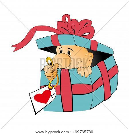 colorful silhouette with somebody inside the gift box opened with label with heart in hand vector illustration