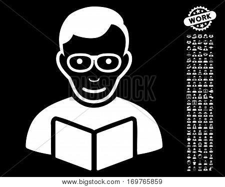 Reader icon with bonus men clip art. Vector illustration style is flat iconic white symbols on black background.