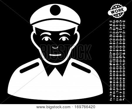 Soldier icon with bonus occupation pictograph collection. Vector illustration style is flat iconic white symbols on black background.