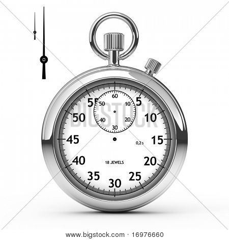 Stopwatch isolated on white with separately hands
