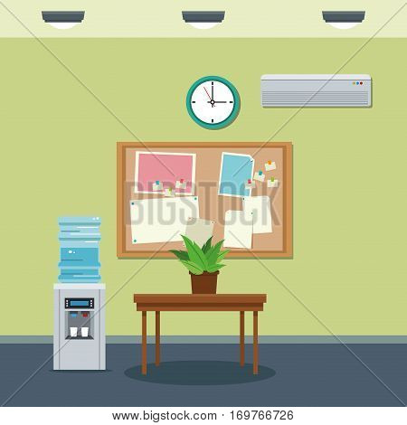 workplace table wooden plant and cooler clock vector illustration
