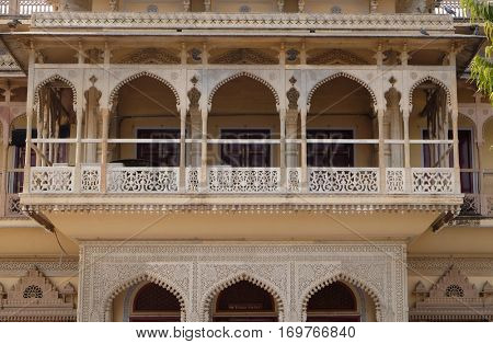 JAIPUR, INDIA - FEBRUARY 16, 2016: Mubarak Mahal at the City Palace, a palace complex in Jaipur, Rajasthan, India. It was the seat of the Maharaja of Jaipur, the head of the Kachwaha Rajput clan.