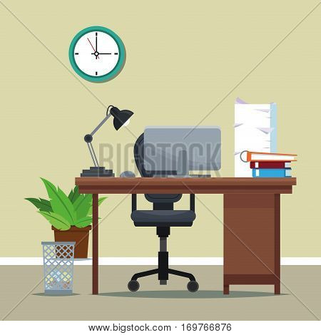 workplace equipment desk chair clock vector illustration eps 10