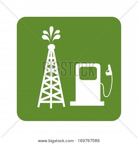 green background with oil tower and bio fuel station vector illustration