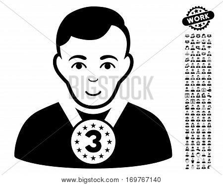 3rd Prizer Sportsman icon with bonus avatar icon set. Vector illustration style is flat iconic black symbols on white background.