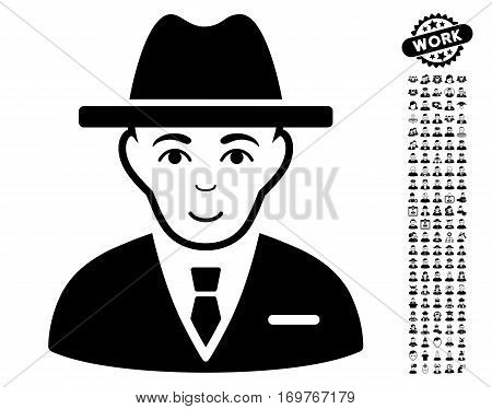 Agent icon with bonus men pictograph collection. Vector illustration style is flat iconic black symbols on white background.