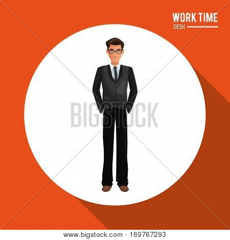 business man suit necktie glasses stand shadow vector illustration eps 10