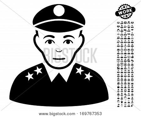 Army General icon with bonus avatar pictograph collection. Vector illustration style is flat iconic black symbols on white background. poster