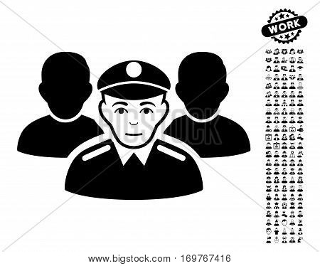 Army Team pictograph with bonus men clip art. Vector illustration style is flat iconic black symbols on white background.