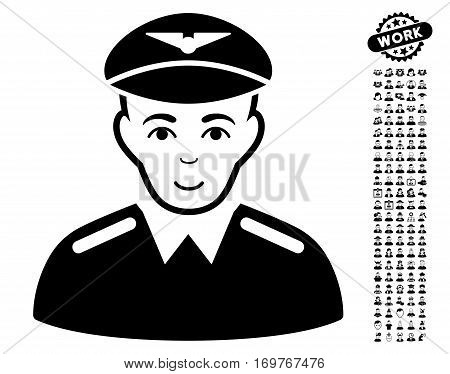 Aviator pictograph with bonus men pictures. Vector illustration style is flat iconic black symbols on white background.