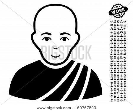 Buddhist Monk pictograph with bonus human pictograms. Vector illustration style is flat iconic black symbols on white background.